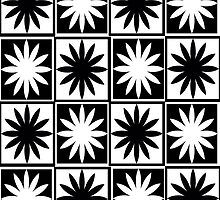 Black and White Daisy Checkers Pattern by Tarnya  Burke