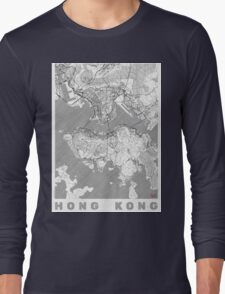Hong Kong Map Line Long Sleeve T-Shirt
