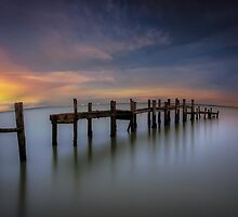 Wooden Pier Sunset by manateevoyager