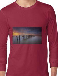 Wooden Pier Sunset Long Sleeve T-Shirt