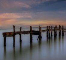 Wooden Pier Sunset Sticker