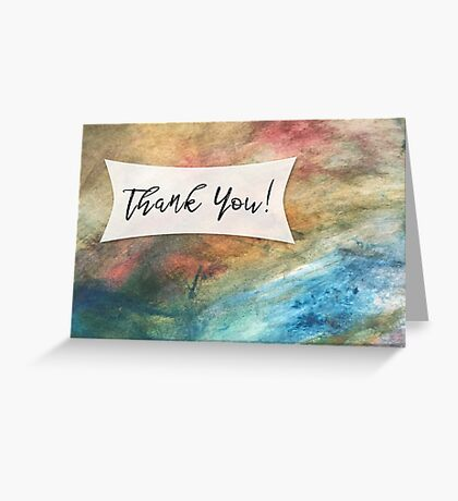 Thank You Card with Colorful Painted Abstract Background, 04 Greeting Card