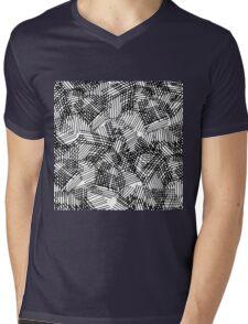 Modern black white pencil hand drawn geometric lines Mens V-Neck T-Shirt