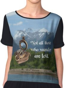 Not all Those who Wander are Lost, Tolkien, LOTR (scenic background) Chiffon Top