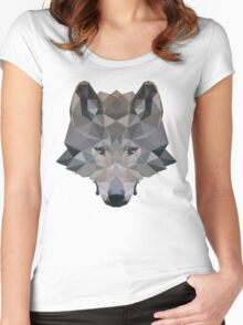 Low Poly Wolf Women's Fitted Scoop T-Shirt