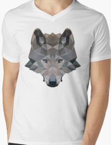 Low Poly Wolf Mens V-Neck T-Shirt