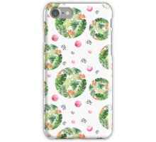 Tropical green orange watercolor floral pink dots pattern iPhone Case/Skin