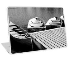 Quiet Boat Dock, Black & White Laptop Skin