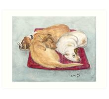 Boxer Pit Bull Golden Labrador Dogs Cathy Peek Art Print