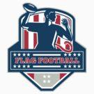 Flag Football QB Player Passing Ball Crest Retro by patrimonio