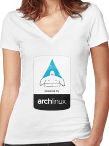 Powered By Arch Linux Women's Fitted V-Neck T-Shirt