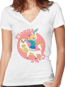 Fionna & Cake Women's Fitted V-Neck T-Shirt