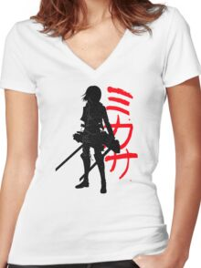 Mikasa Ackerman (Attack on Titan) Women's Fitted V-Neck T-Shirt