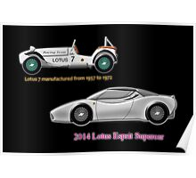 Lotus 7 (1957) & Lotus Esprit (2014) compared Poster