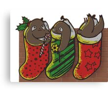 Sloths in Stockings Canvas Print