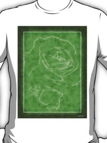 Pink Roses in Anzures 2 Outlined Green T-Shirt