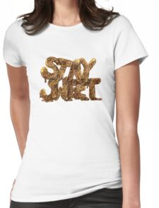Stay Sweet Watercolor Typography Sticker Womens Fitted T-Shirt