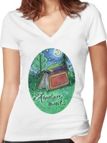 Adventure Awaits Watercolor Sticker Women's Fitted V-Neck T-Shirt
