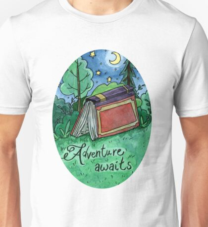 Adventure Awaits Watercolor Sticker Unisex T-Shirt
