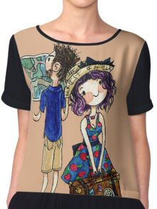 Travel Couple Watercolor Painting Chiffon Top