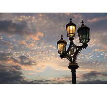 One Light Out - Westminster Bridge Streetlights, River Thames in London, UK Photographic Print