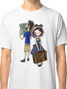 Travel Couple Watercolor Sticker or Shirt Classic T-Shirt