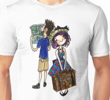 Travel Couple Watercolor Sticker or Shirt Unisex T-Shirt