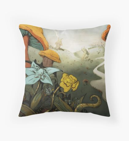 Crying Flowers, Mushroom Forest Throw Pillow