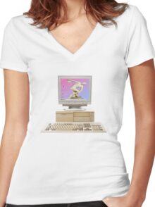 Vaporwave Statue on Vintage PC Women's Fitted V-Neck T-Shirt