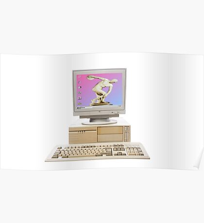 Vaporwave Statue on Vintage PC Poster