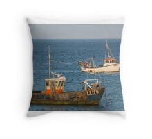 Two old fishing boats  Throw Pillow