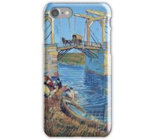 Vincent Van Gogh -  Langlois Bridge At Arles With Women Washing, 1888 iPhone Case/Skin