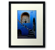Blue Patio with Stairway Framed Print