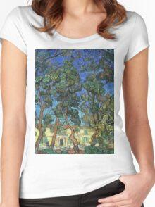 Vincent Van Gogh -  Grounds Of  Asylum, 1889 Women's Fitted Scoop T-Shirt