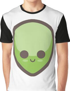 Cute Happy Green Alien Face Graphic T-Shirt