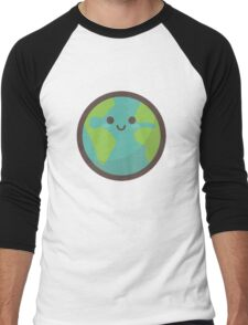 Cute Happy Earth Face Men's Baseball ¾ T-Shirt