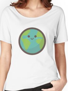 Cute Happy Earth Face Women's Relaxed Fit T-Shirt