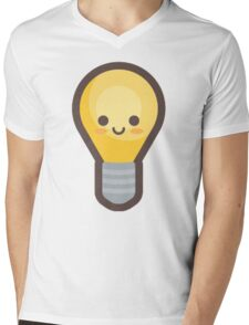 Cute Happy Light-bulb Idea Mens V-Neck T-Shirt