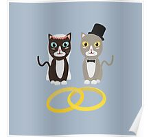 Wedding Cats with Rings Poster