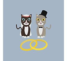 Wedding Cats with Rings Photographic Print