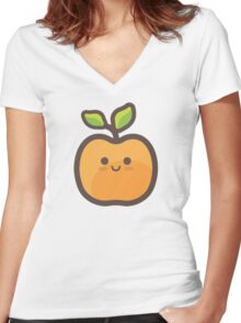 Cute Happy Peach Women's Fitted V-Neck T-Shirt