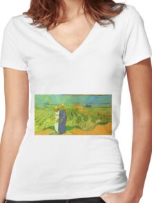 Vincent Van Gogh - Two Women Crossing  Fields, 1890 Women's Fitted V-Neck T-Shirt