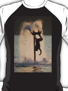 Flyboarder diving amid spray after back flip T-Shirt