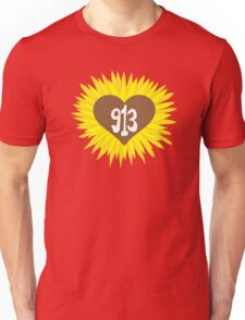 Hand Drawn Kansas Sunflower Heart 913 Area Code Unisex T-Shirt