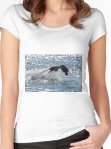 Flyboarder diving forwards headfirst into backlit sea Women's Fitted Scoop T-Shirt