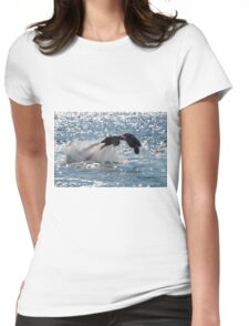 Flyboarder diving forwards headfirst into backlit sea Womens Fitted T-Shirt