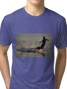 Flyboarder throwing his arms out while falling Tri-blend T-Shirt
