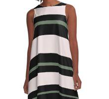 Pink Olive Black Sweet Stripes A-Line Dress