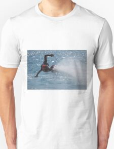 Flyboarder with outstretched arms low over water Unisex T-Shirt