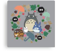My Neighbor Totoro Wreath - Anime, Catbus, Soot Sprite, Blue Totoro, White Totoro, Mustard, Ochre, Umbrella, Manga, Hayao Miyazaki, Studio Ghibl Canvas Print